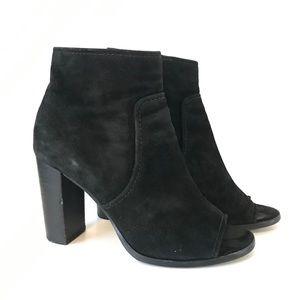 FRYE Black Suede Leather Peep Toe Booties 6
